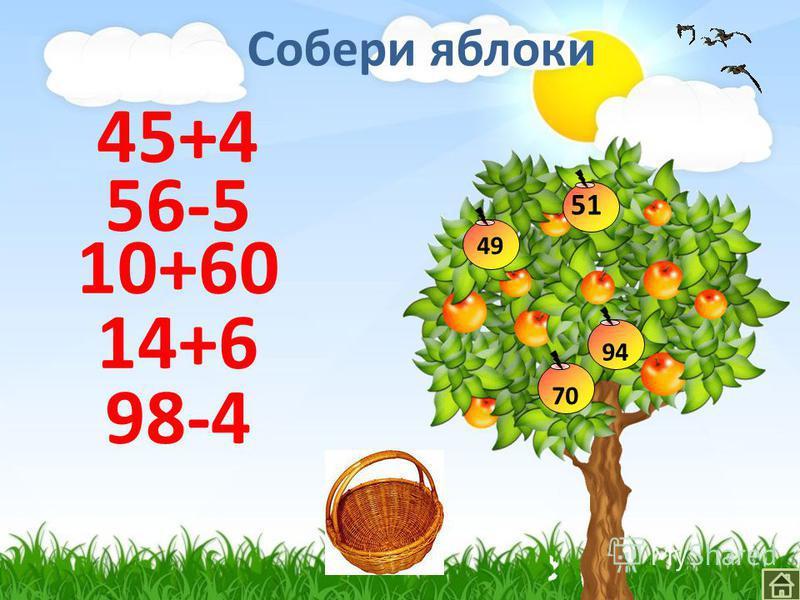 Собери яблоки 45+4 56-5 10+60 14+6 98-4 49 51 7094