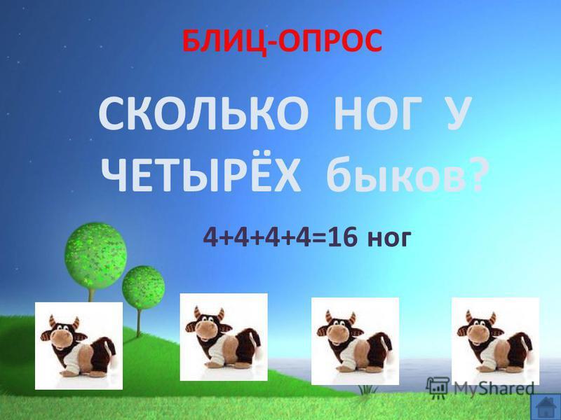 БЛИЦ-ОПРОС СКОЛЬКО НОГ У ЧЕТЫРЁХ быков? 4+4+4+4=16 ног