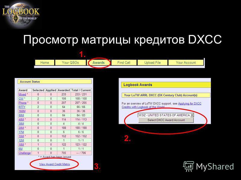 Просмотр матрицы кредитов DXCC 1. 2. 3.3.