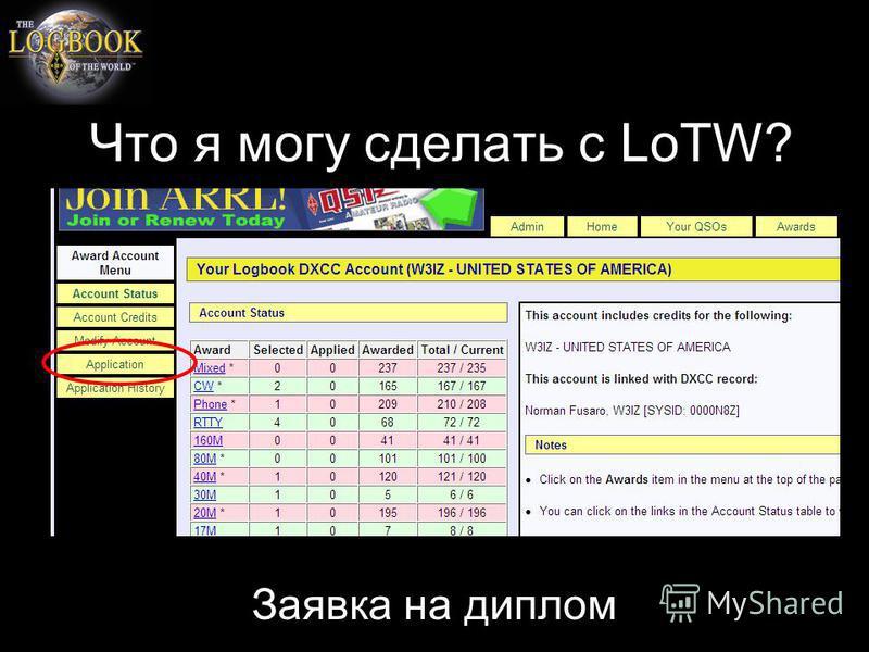 Что я могу сделать с LoTW? Заявка на диплом