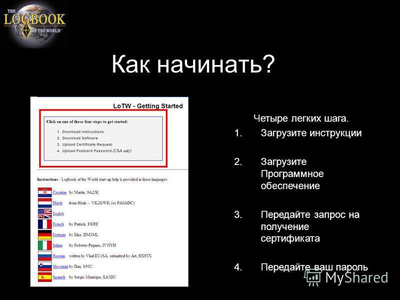 Как начинать? Четыре легких шага. 1. Загрузите инструкции 2. Загрузите Программное обеспечение 3. Передайте запрос на получение сертификата 4. Передайте ваш пароль
