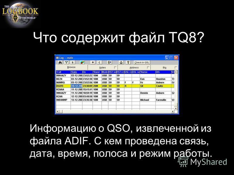 Что содержит файл TQ8? Информацию о QSO, извлеченной из файла ADIF. С кем проведена связь, дата, время, полоса и режим работы.