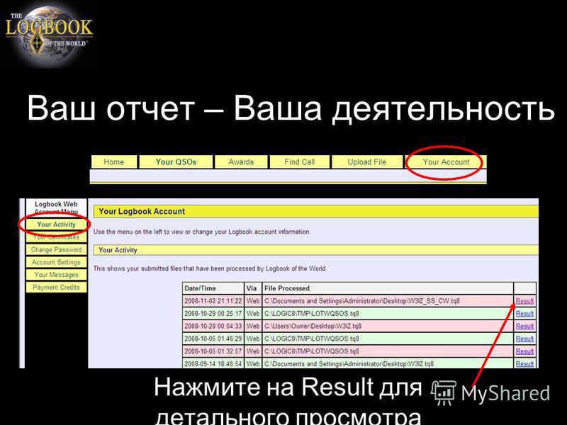 Ваш отчет – Ваша деятельность Нажмите на Result для детального просмотра