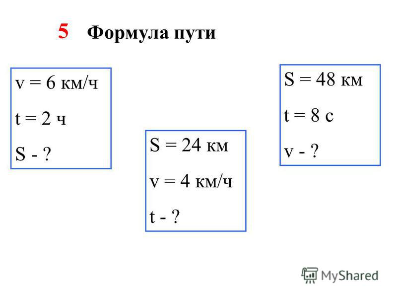 5 v = 6 км/ч t = 2 ч S - ? Формула пути S = 24 км v = 4 км/ч t - ? S = 48 км t = 8 с v - ?