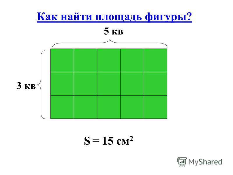 Как найти площадь фигуры? S = 15 см 2 3 кв 5 кв