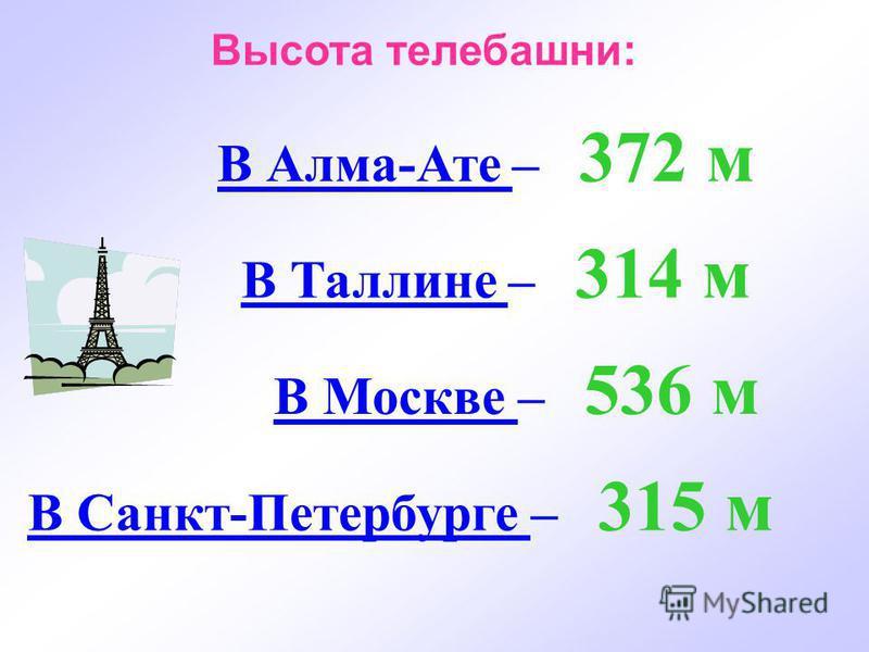 В Алма-Ате – 372 м Высота телебашни: В Таллине – 314 м В Москве – 536 м В Санкт-Петербурге – 315 м