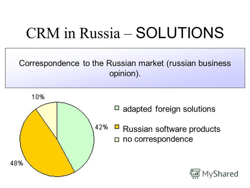 CRM in Russia – SOLUTIONS Correspondence to the Russian market (russian business opinion). adapted foreign solutions Russian software products no correspondence