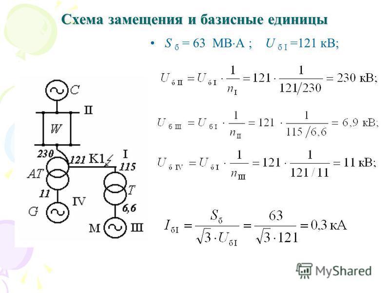 Схема замещения и базисные единицы S б = 63 МВ А ; U б I =121 кВ;
