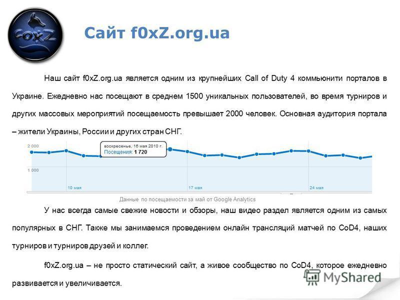 Сайт f0xZ.org.ua Наш сайт f0xZ.org.ua является одним из крупнейших Call of Duty 4 коммьюнити порталов в Украине. Ежедневно нас посещают в среднем 1500 уникальных пользователей, во время турниров и других массовых мероприятий посещаемость превышает 20