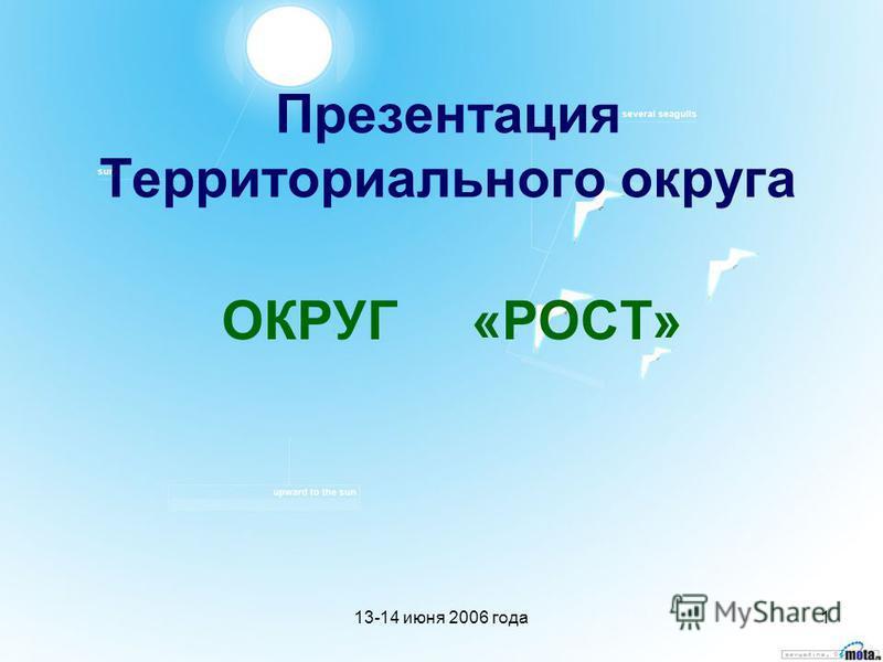 13-14 июня 2006 года 1 Презентация Территориального округа ОКРУГ «РОСТ»