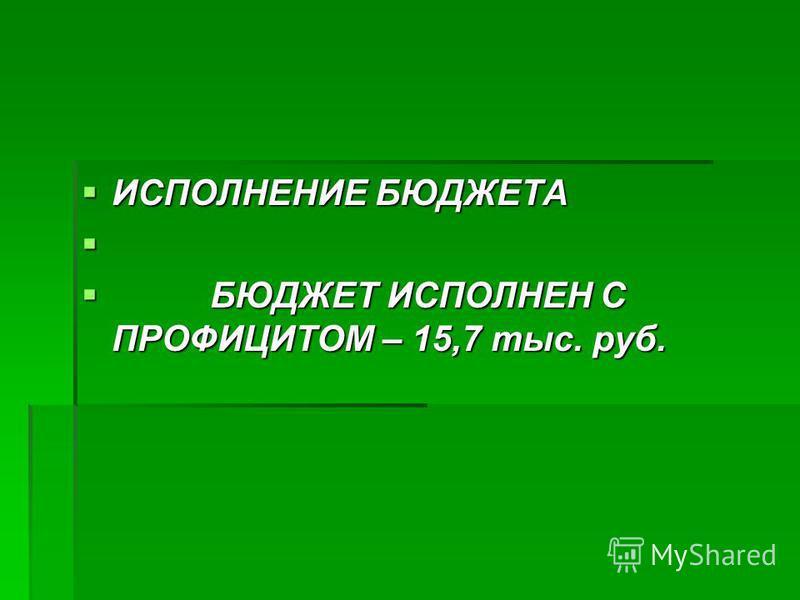 ИСПОЛНЕНИЕ БЮДЖЕТА ИСПОЛНЕНИЕ БЮДЖЕТА БЮДЖЕТ ИСПОЛНЕН С ПРОФИЦИТОМ – 15,7 тыс. руб. БЮДЖЕТ ИСПОЛНЕН С ПРОФИЦИТОМ – 15,7 тыс. руб.