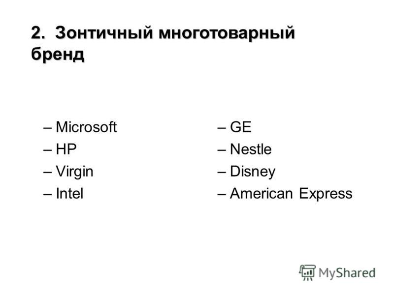 –Microsoft –HP –Virgin –Intel –GE –Nestle –Disney –American Express 2. Зонтичный многотоварный бренд