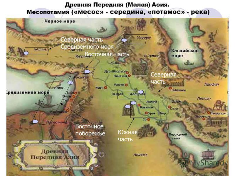 Древняя Передняя (Малая) Азия. Месопотамия («месос» - середина, «потамос» - река) Южная часть Северная часть Восточное побережье Восточная часть Северная часть Средиземного моря