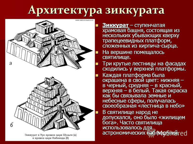 Архитектура зиккурата Зиккурат – ступенчатая храмовая башня, состоящая из нескольких убывающих кверху трапециевидных платформ, сложенных из кирпича-сырца. Зиккурат – ступенчатая храмовая башня, состоящая из нескольких убывающих кверху трапециевидных