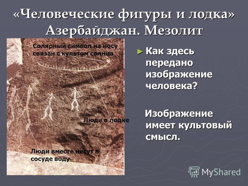 «Человеческие фигуры и лодка» Азербайджан. Мезолит Как здесь передано изображение человека? Изображение имеет культовый смысл. Люди вместе несут в сосуде воду Люди в лодке Солярный символ на носу связан с культом солнца