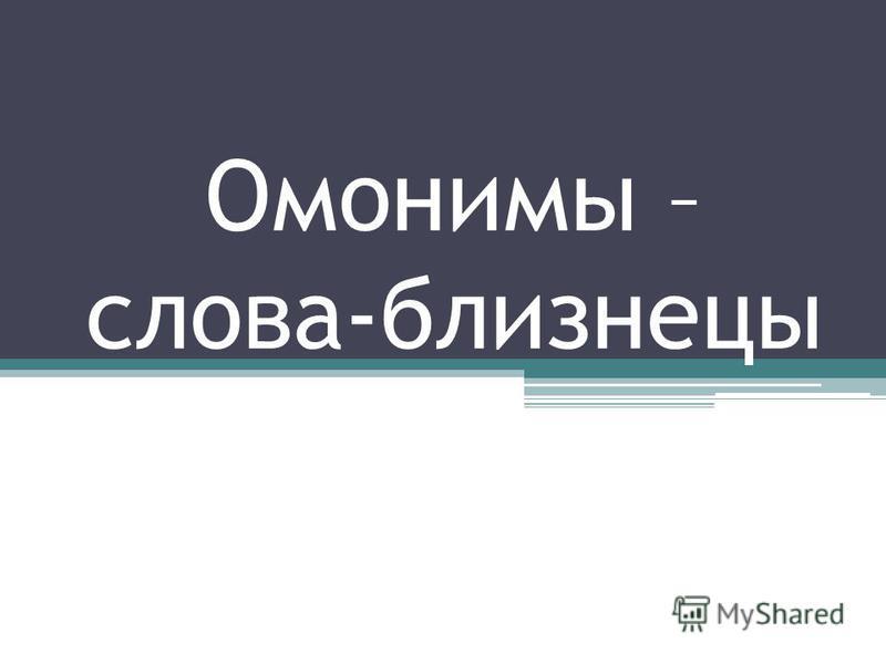 Омонимы – слова-близнецы