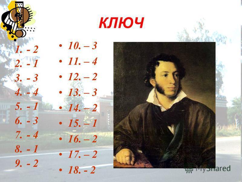 КЛЮЧ 1.- 2 2.- 1 3.- 3 4.- 4 5.- 1 6.- 3 7.- 4 8.- 1 9.- 2 10. – 3 11. – 4 12. – 2 13. – 3 14. – 2 15. – 1 16. – 2 17. – 2 18. - 2