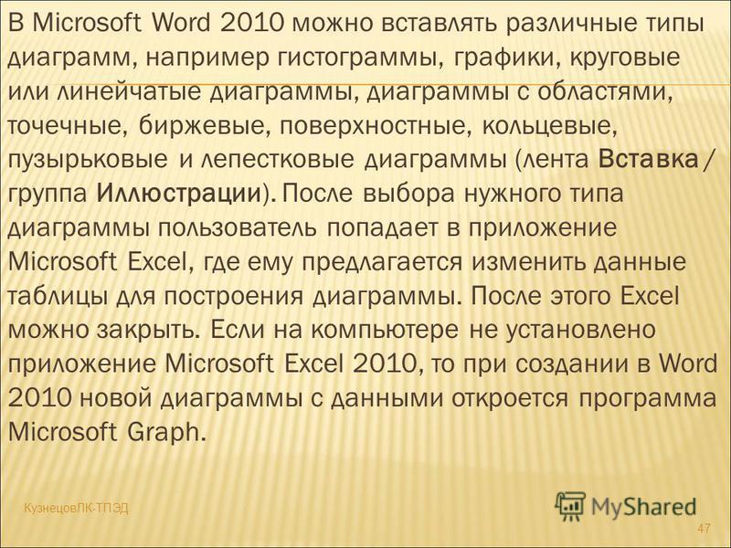 В Microsoft Word 2010 можно вставлять различные типы диаграмм, например гистограммы, графики, круговые или линейчатые диаграммы, диаграммы с областями, точечные, биржевые, поверхностные, кольцевые, пузырьковые и лепестковые диаграммы (лента Вставка /