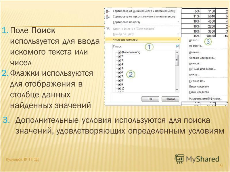 1. Поле Поиск используется для ввода искомого текста или чисел 2. Флажки используются для отображения в столбце данных найденных значений 3. Дополнительные условия используются для поиска значений, удовлетворяющих определенным условиям 81 КузнецовЛК-