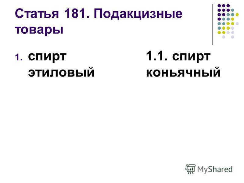 Статья 181. Подакцизные товары 1. спирт этиловый 1.1. спирт коньячный