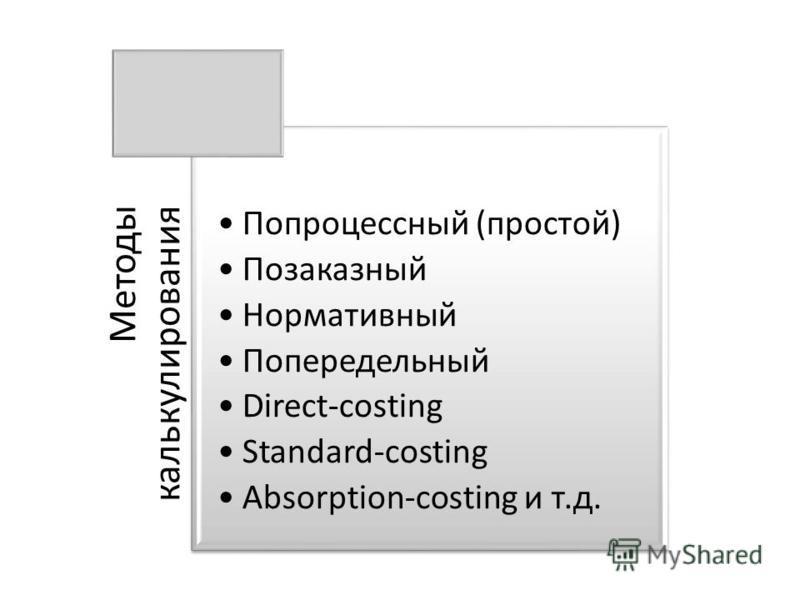 Методы калькулирования Попроцессный (простой) Позаказный Нормативный Попередельный Direct-costing Standard-costing Absorption-costing и т.д.