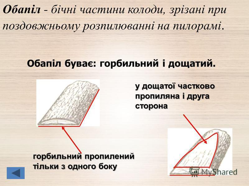 Обапіл буває: горбильний і дощатий. Обапіл - бічні частини колоди, зрізані при поздовжньому розпилюванні на пилорамі. у дощатої частково пропиляна і друга сторона горбильний пропилений тільки з одного боку