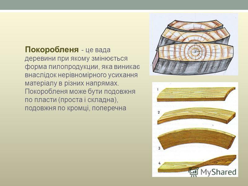 Покоробленя - це вада деревини при якому змінюється форма пилопродукции, яка виникає внаслідок нерівномірного усихання матеріалу в різних напрямах. Покоробленя може бути подовжня по пласти (проста і складна), подовжня по кромці, поперечна