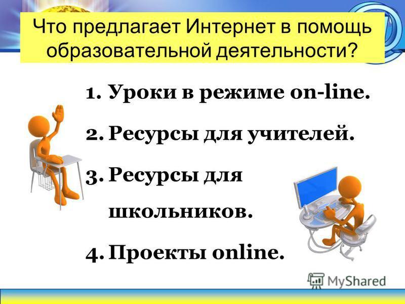 Что предлагает Интернет в помощь образовательной деятельности? 1. Уроки в режиме on-line. 2. Ресурсы для учителей. 3. Ресурсы для школьников. 4. Проекты online.