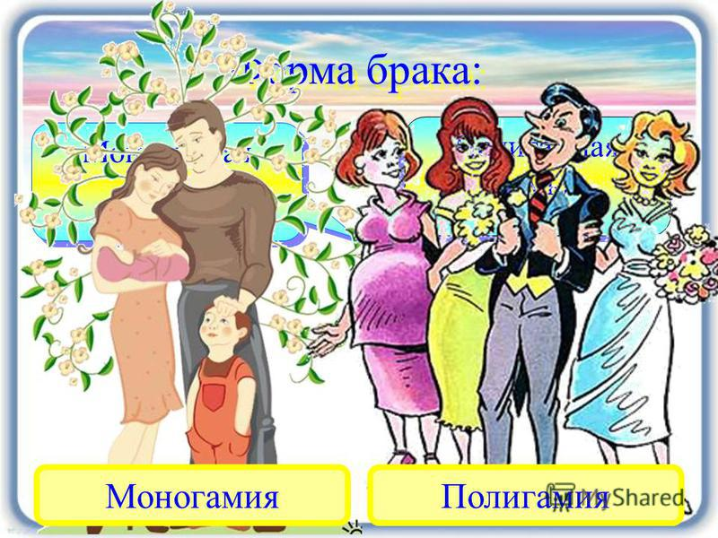 Форма брака: Моногамная семья Моногамная семья Полигамная семья Полигамная семья Моногамия Полигамия