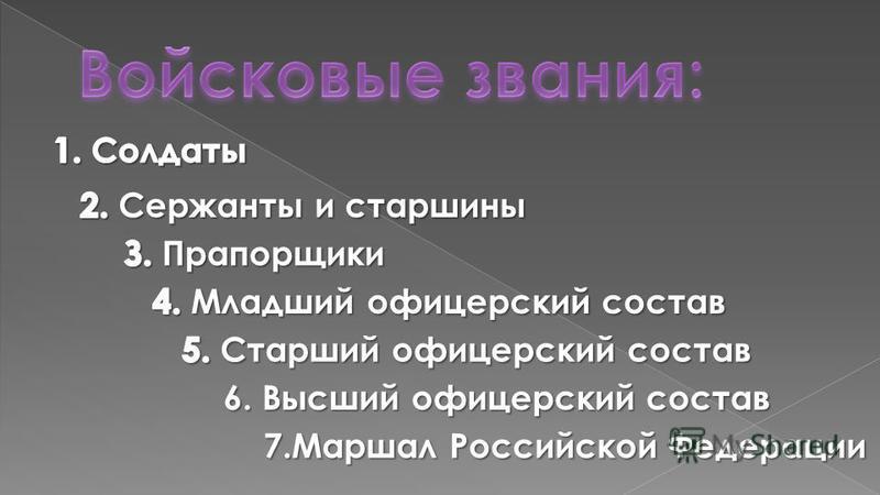 В Вооружённых силах Российской Федерации используются два вида званий Корабельные