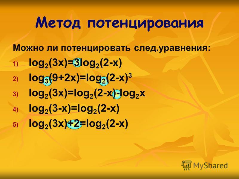 Метод потенцирования Можно ли потенцировать след.уравнения: 1) 1) log 2 (3x)=3log 2 (2-x) 2) 2) log 3 (9+2x)=log 2 (2-x) 3 3) 3) log 2 (3x)=log 2 (2-x)-log 2 x 4) 4) log 2 (3-x)=log 2 (2-x) 5) 5) log 2 (3x)+2=log 2 (2-x)