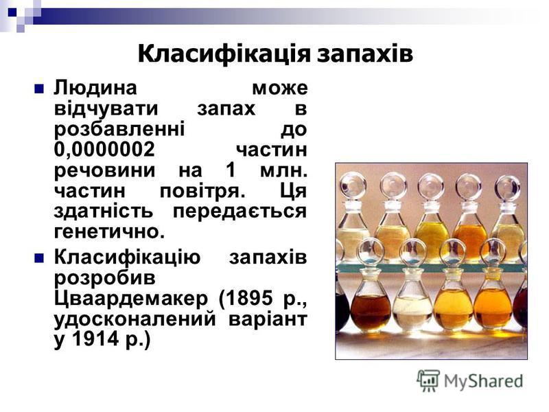 Класифікація запахів Людина може відчувати запах в розбавленні до 0,0000002 частин речовини на 1 млн. частин повітря. Ця здатність передається генетично. Класифікацію запахів розробив Цваардемакер (1895 р., удосконалений варіант у 1914 р.)