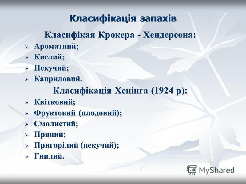 Класифікація запахів Класифікая Крокера - Хендерсона: Ароматний; Ароматний; Кислий; Кислий; Пекучий; Пекучий; Каприловий. Каприловий. Класифікація Хенінга (1924 р): Квітковий; Квітковий; Фруктовий (плодовий); Фруктовий (плодовий); Смолистий; Смолисти