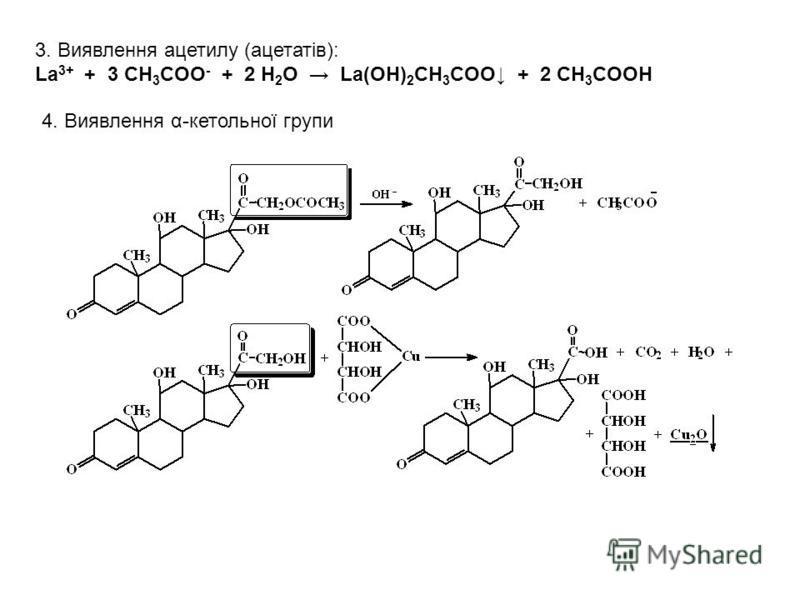 3. Виявлення ацетилу (ацетатів): La 3+ + 3 CH 3 COO - + 2 H 2 O La(OH) 2 CH 3 COO + 2 CH 3 COOH 4. Виявлення α-кетольної групи