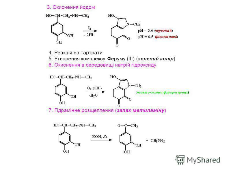 3. Окиснення йодом 4. Реакція на тартрати 5. Утворення комплексу Феруму (ІІІ) (зелений колір) 6. Окиснення в середовищі натрій гідроксиду 7. Гідрамінне розщеплення (запах метиламіну)