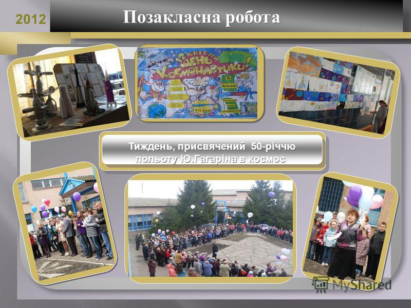 Позакласна робота Позакласна робота 2012 Тиждень, присвячений 50-річчю польоту Ю.Гагаріна в космос