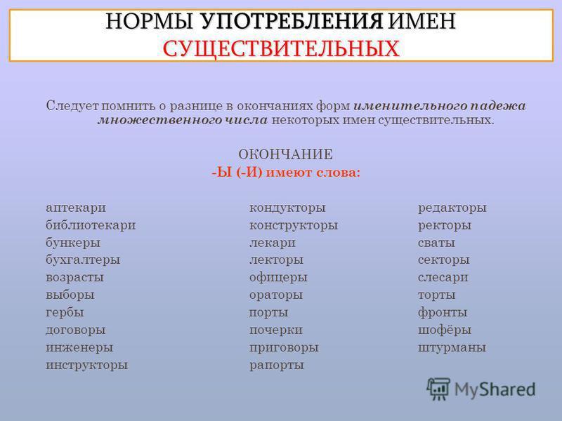 Употребление форм имен существительных реферат 1977