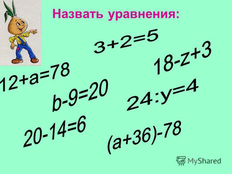 1. Что называется уравнением. 2. Что называется корнем уравнения. 3. Что значит решить уравнение. Научитесь правильно читать уравнения Вспомните, как находятся неизвестные слагаемое, уменьшаемое и вычитаемое
