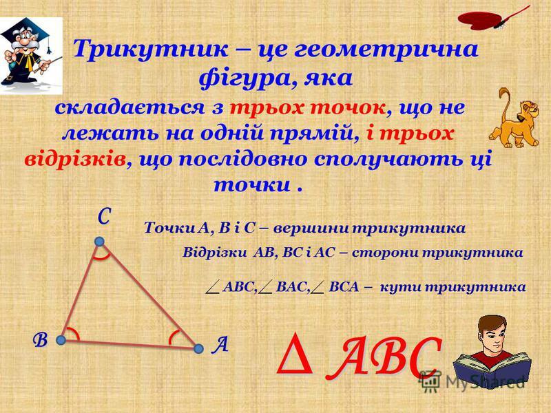 В А С Точки А, В і С – вершини трикутника Відрізки АВ, ВС і АС – сторони трикутника АВС, ВАС, ВСА – кути трикутника АВС складається з трьох точок, що не лежать на одній прямій, і трьох відрізків, що послідовно сполучають ці точки. Трикутник – це геом