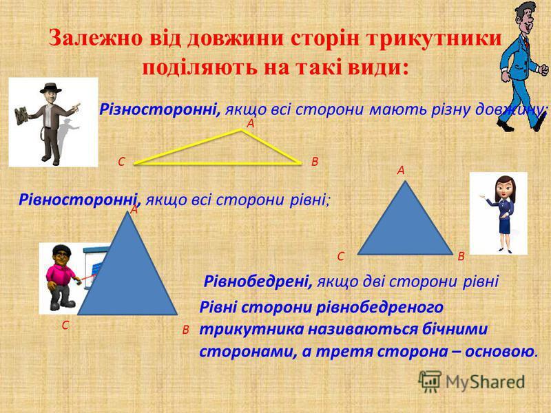 Залежно від довжини сторін трикутники поділяють на такі види: Різносторонні, якщо всі сторони мають різну довжину; Рівносторонні, якщо всі сторони рівні ; Рівнобедрені, якщо дві сторони рівні Рівні сторони рівнобедреного трикутника називаються бічним