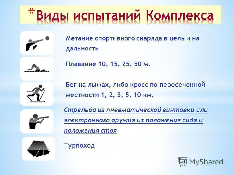Метание спортивного снаряда в цель и на дальность Плавание 10, 15, 25, 50 м. Бег на лыжах, либо кросс по пересеченной местности 1, 2, 3, 5, 10 км. Стрельба из пневматической винтовки или электронного оружия из положения сидя и положения стоя Турпоход
