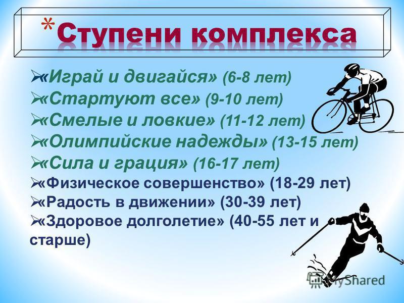 «Играй и двигайся» (6-8 лет) «Стартуют все» (9-10 лет) «Смелые и ловкие» (11-12 лет) «Олимпийские надежды» (13-15 лет) «Сила и грация» (16-17 лет) «Физическое совершенство» (18-29 лет) «Радость в движении» (30-39 лет) «Здоровое долголетие» (40-55 лет