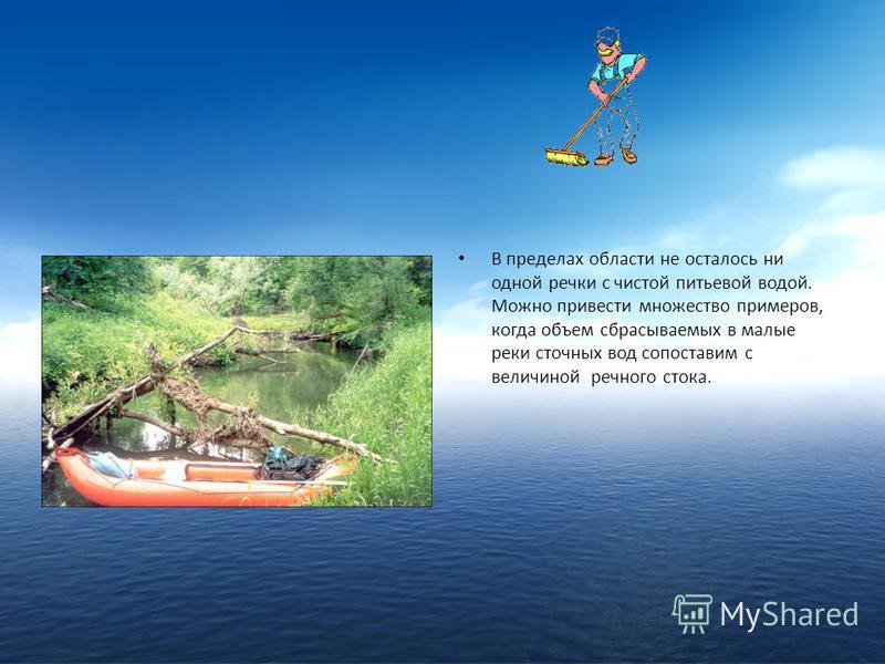 В пределах области не осталось ни одной речки с чистой питьевой водой. Можно привести множество примеров, когда объем сбрасываемых в малые реки сточных вод сопоставим с величиной речного стока.