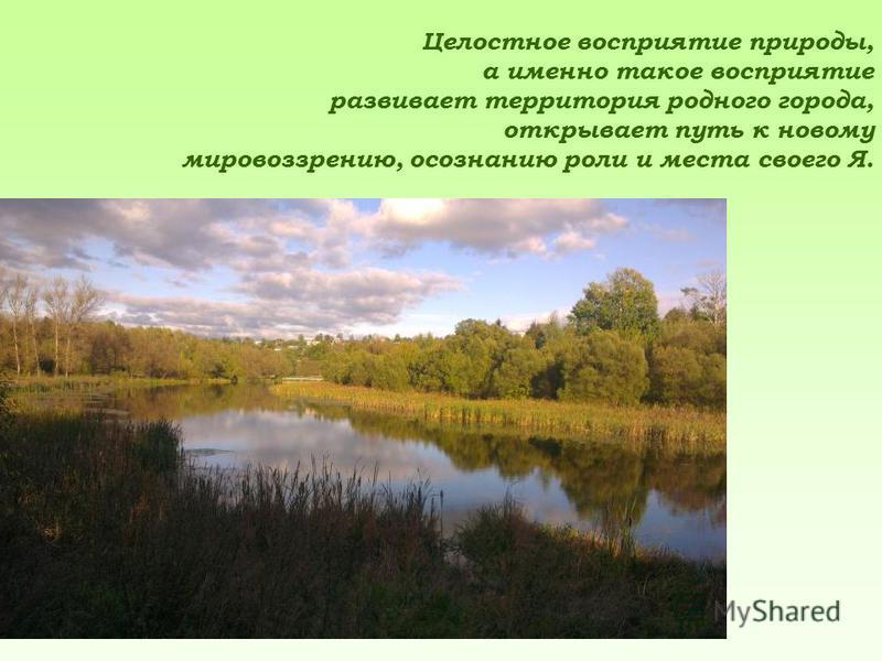 Целостное восприятие природы, а именно такое восприятие развивает территория родного города, открывает путь к новому мировоззрению, осознанию роли и места своего Я.