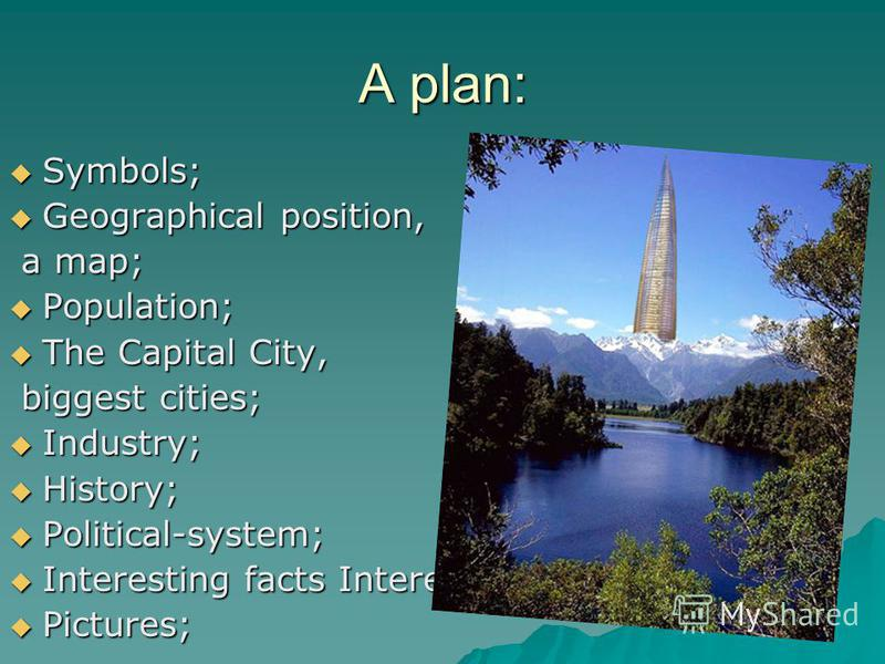 A plan: Symbols; Symbols; Geographical position, Geographical position, a map; a map; Population; Population; The Capital City, The Capital City, biggest cities; biggest cities; Industry; Industry; History; History; Political-system; Political-system
