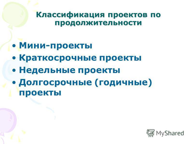 Мини-проекты Краткосрочные проекты Недельные проекты Долгосрочные (годичные) проекты Классификация проектов по продолжительности