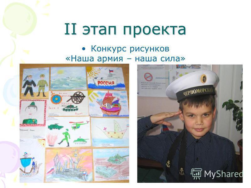 II этап проекта Конкурс рисунков «Наша армия – наша сила»