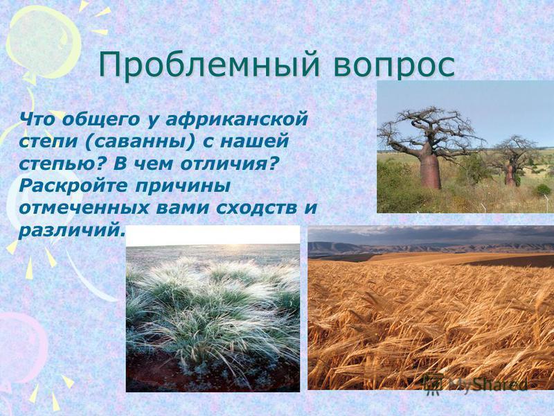 Проблемный вопрос Что общего у африканской степи (саванны) с нашей степью? В чем отличия? Раскройте причины отмеченных вами сходств и различий.