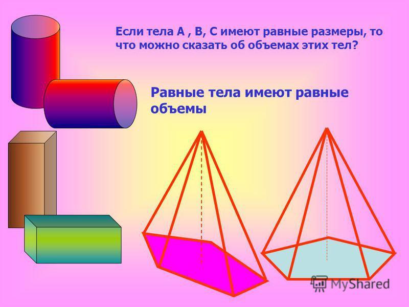 Равные тела имеют равные объемы Если тела А, В, С имеют равные размеры, то что можно сказать об объемах этих тел?