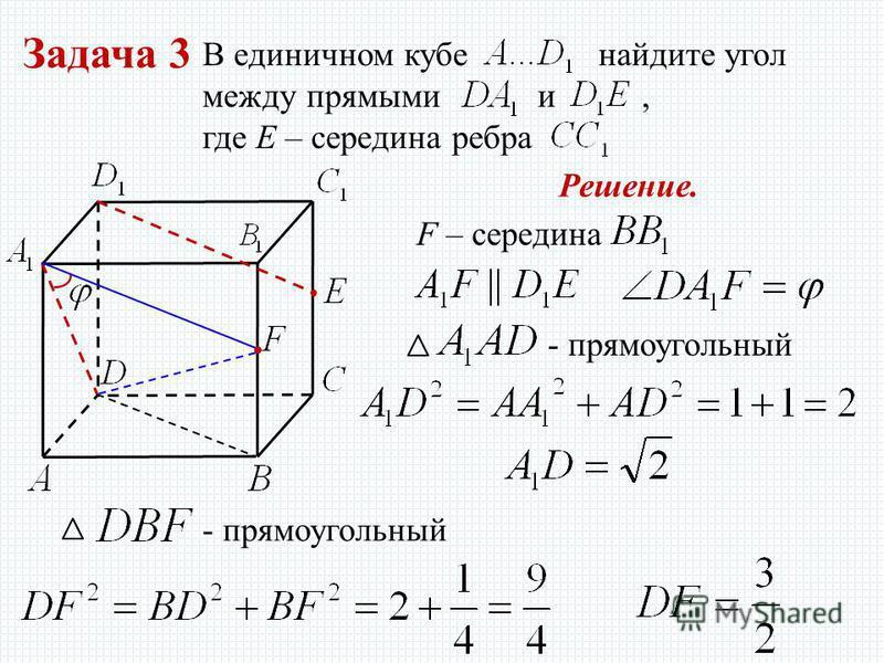 Задача 3 В единичном кубе найдите угол между прямыми и, где E – середина ребра Решение. F – середина - прямоугольный